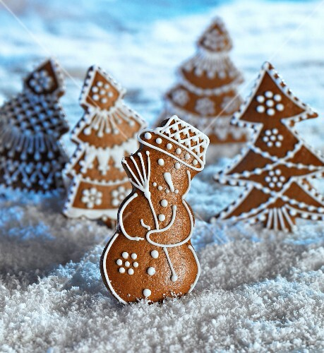 A gingerbread forest with a snowman