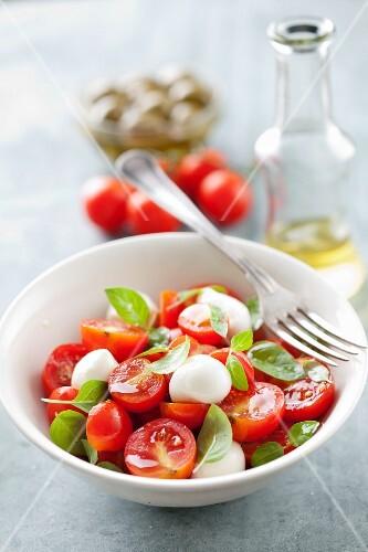 Tomato salad with mini mozzarella balls and basil