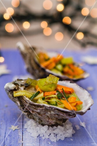Oysters filled with vegetables for Christmas
