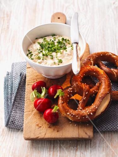 Obatzda with pretzels and radishes