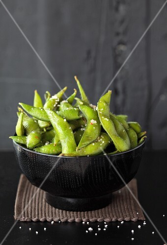 A bowl of soya beans with salt