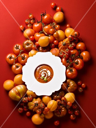 Tomato and apricot soup (seen from above)