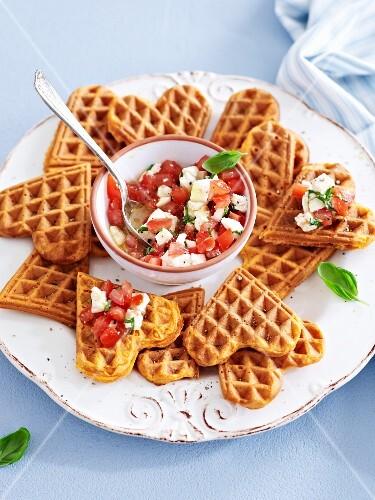 Savoury waffles with tomato salsa and feta