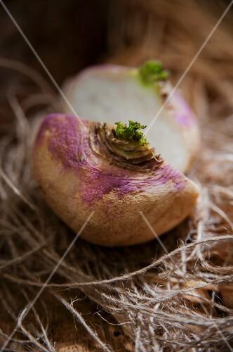A turnip, halved