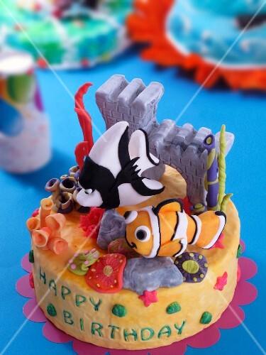 A sea-themed child's birthday cake