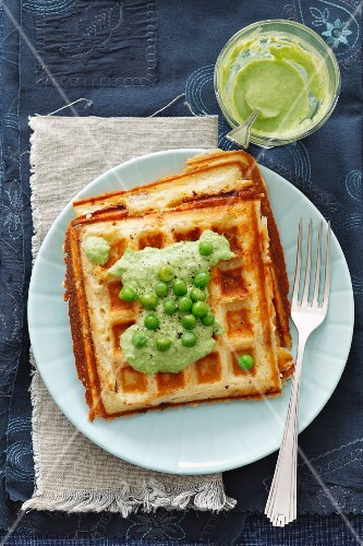 Parmesan waffles with pea sauce