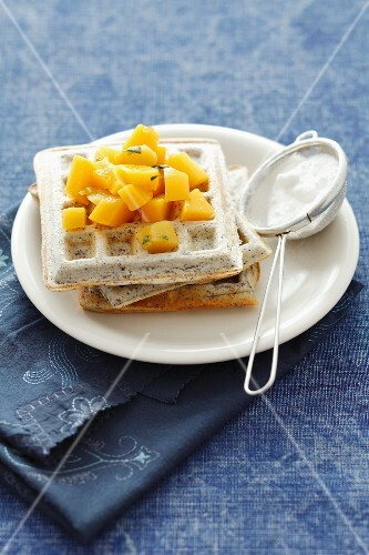 Carrots waffles with a peach and mint salsa