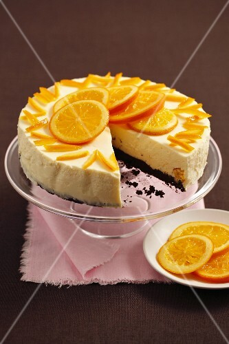 White chocolate mousse and orange tart with a brownie base