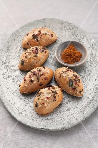 Pumpkin seed rolls with rose salt