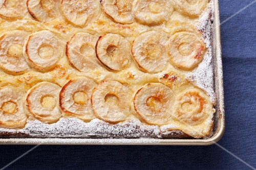 Apple cake in the baking tray
