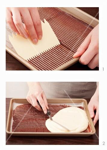 Decorative sponge cake being prepared