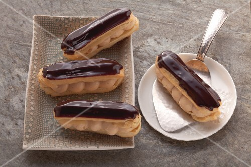 Eclairs with caramel cream filling