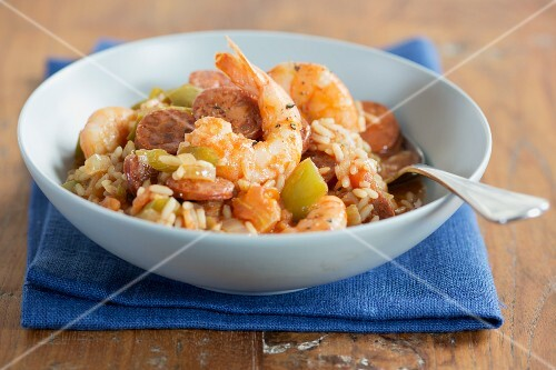 Jambalaya (Creole rice stew with prawns and sausage)