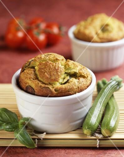 Vegetable soufflés in ramekins