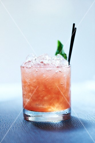 Watermelon Scotch Cocktail with Honey, Salt and Fresh Basil