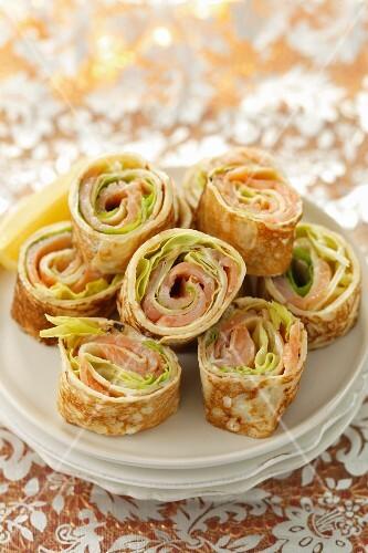 Pancake rolls with smoked salmon