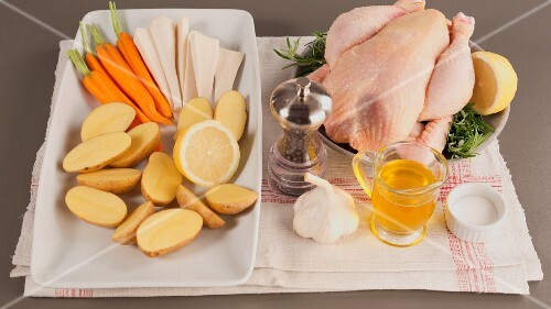 Ingredients for rosemary chicken with vegetables