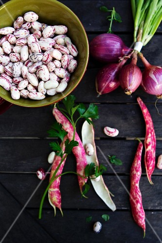 Cranberry Beans In and Out of the Pod with a Bunch of Red Onions; From Above