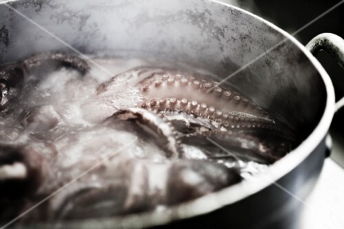 An octopus in boiling water