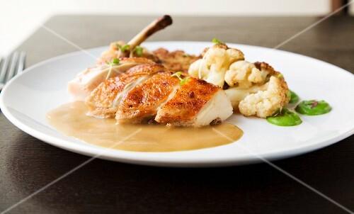 Pan Seared Chicken Breast with Mushroom Bread Pudding, Cauliflower and Broccoli Puree