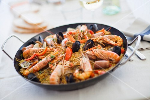 Paella with langoustines and mussels