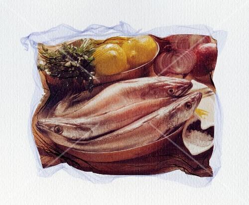 A copper dish full of fresh fish