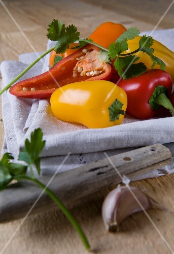 Bell peppers and herbs