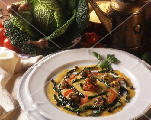 Insalata di lumache e verza (snail and savoy cabbage salad with vinaigrette)