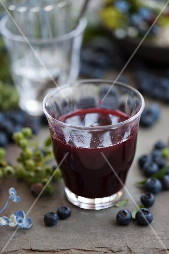 Blueberry cordial in a glass
