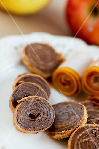 Fruit leather rolls filled with chocolate