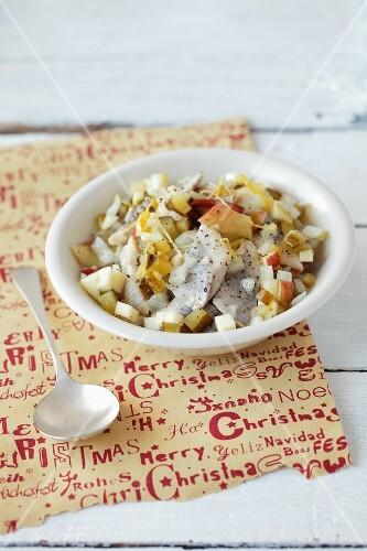 Herring salad with gherkins, apple, yoghurt dressing and lemon zest (Christmassy)