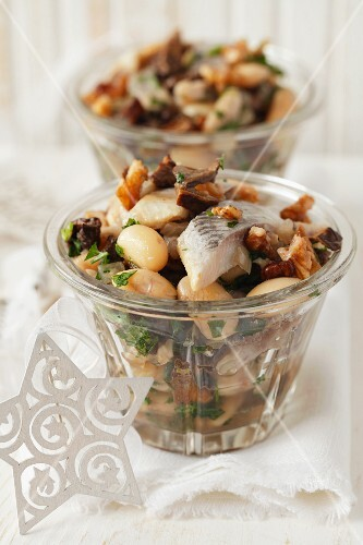 A salad of herring with butter beans, dried mushrooms, onions and walnuts (Christmassy)