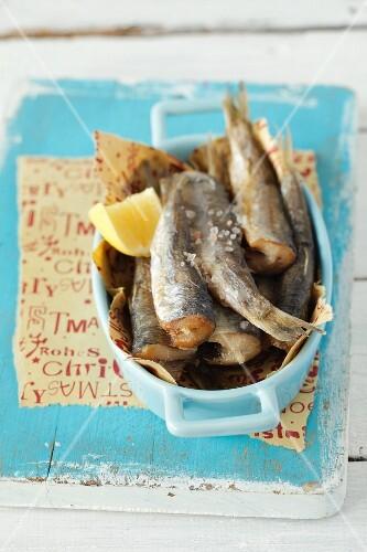 Fried herrings with lemons (Christmassy)