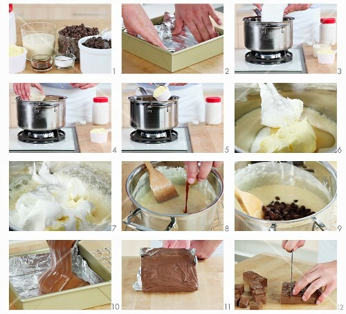 Chocolate fudge being prepared