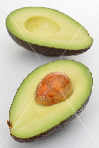 A halved avocado