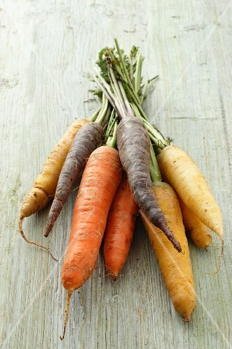 A selection of different coloured carrots (purple, yellow and orange)