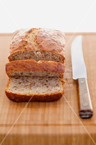 Sliced, freshly baked banana bread