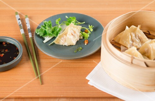 Dim sum with soy and chilli sauce