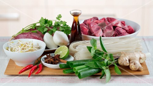 Ingredients for pho bo (Vietnamese noodle soup with beef)