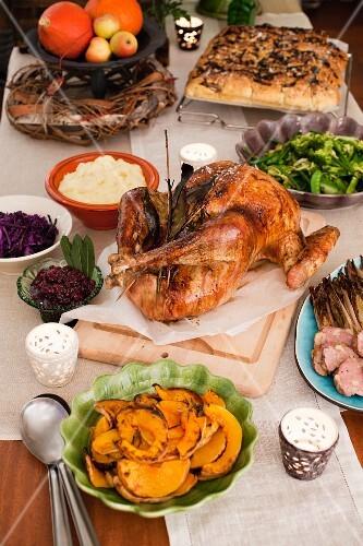 A Thanksgiving menu with roast turkey