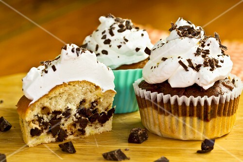 Vanilla cupcakes with chocolate drops