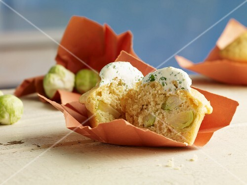 Sprout muffin with herb quark topping