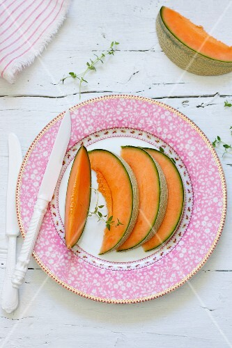 Slices of fresh melon on a plate