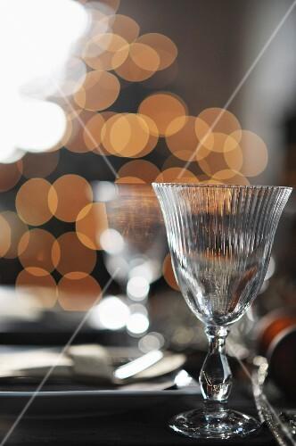 Wine glasses on set table