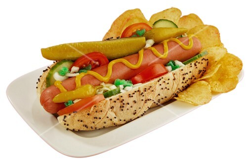 A Chicago-style hot dog with crisps