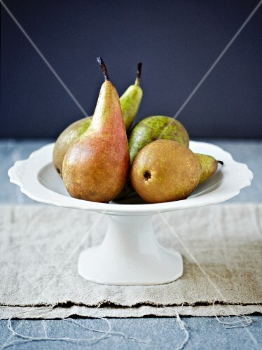 Assorted Pears in a Bowl; From Above