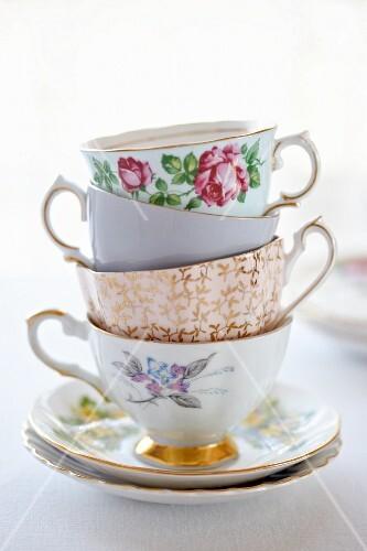 Stack of antique porcelain teacups
