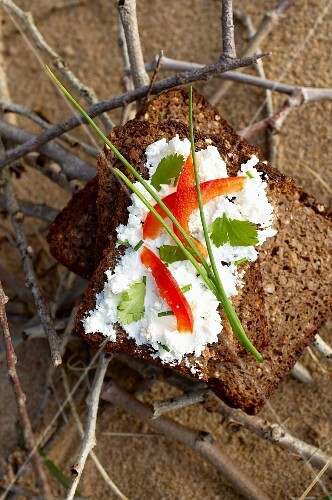 Herby goat's cheese with pepper on wholemeal rye bread