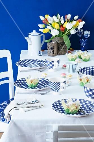 A table laid with a Dutch theme