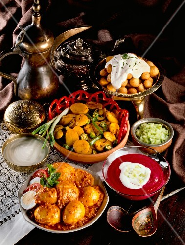 An assortment of Indian curry dishes